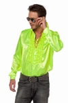 Rucheblouse neon geel